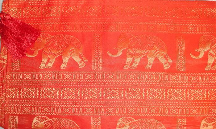 Thai Silk Tablecloth Elephant Design The Elephant Emporium : Elephant Orange Detail from www.theelephantemporium.com.au size 700 x 420 jpeg 156kB