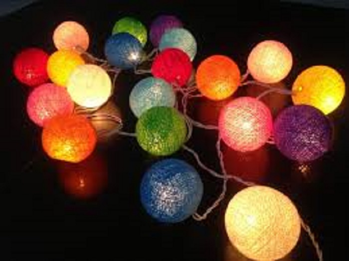 rainbow pack 20 cotton ball fairy light fair trade from. Black Bedroom Furniture Sets. Home Design Ideas